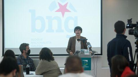 Ana Pontón en la cumbre del BNG celebrada en Lugo este viernes
