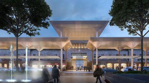 Imagen virtual del aspecto exterior de la estación de Ourense