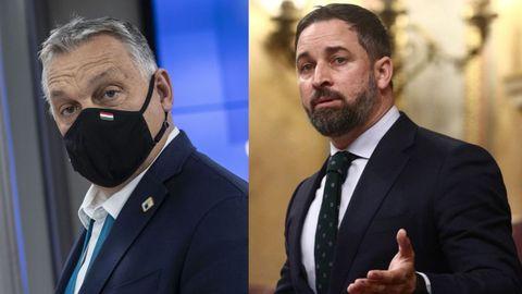 El primer ministro de Hungría, Víktor Orbán, y el líder de VOX, Santiago Abascal
