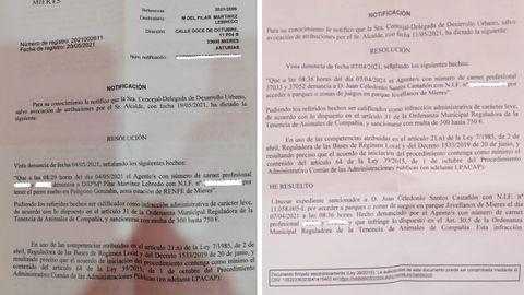 Multas de Pilar Martínez y Juan Santos