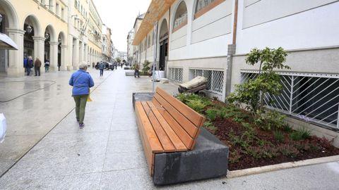 Los bancos y los parterres vegetales humanizan la calle