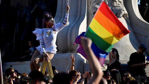 Manifestación en Budapest contra la ley contra el colectivo LGTBIQ, el pasado 14 de junio