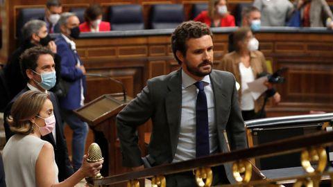 El líder del PP, Pablo Casado en una sesión de control al Gobierno en el Congreso