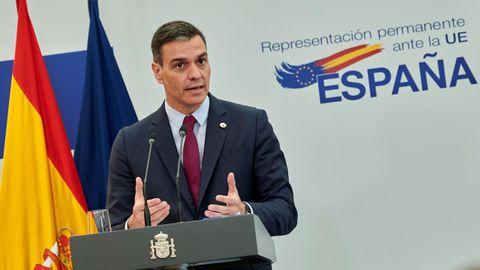 Sánchez, durante la rueda de prensa ofrecida tras su participación en el Consejo Europeo