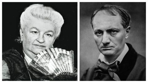 Detalle de los retratos de la escritora gallega Emilia Pardo Bazán (A Coruña, 1851-Madrid, 1921) y del poeta francés Charles Baudelaire (París, 1821-1867), realizado en el año 1863 por el fotógrafo Étienne Carjat.