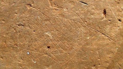 Pez grabado en una de las losas del castro de Formigueiros depositadas en el museo de Viladonga