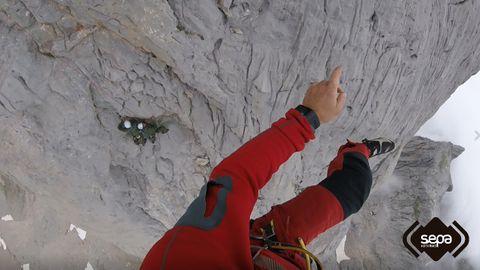 Momento del rescate en el Picu Urriellu