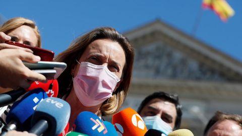 La portavoz del PP en el Congreso, Cuca Gamarra, durante la concentración convocada por la Asociación de Víctimas del Terrorismo