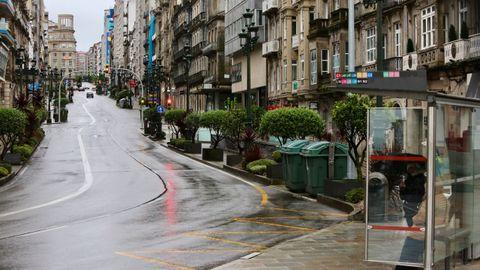 Calles sin coches en Vigo en mato del 2020