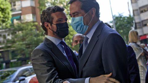 Pablo Casado y Antonio Garamendi, ayer, en Madrid.
