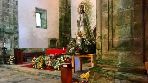 Imagen de la Virxe da Cela en el monasterio de Santa María de Monfero