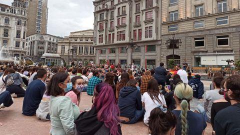 Sentada en Oviedo contra el asesinato de Samuel
