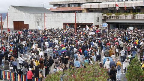 Manifestación en la praza do Rei, frente al Ayuntamiento de Vigo
