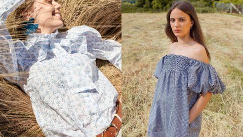 A la izquiera, blusa de Muy Castiñeira y cinturón de otra gallega, Jimenas; a la derecha, vestido hecho a mano en Galicia de la colección de Sandra Castiñeira