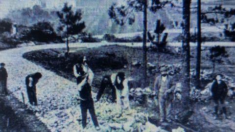 Construción do camiño a Santa Tegra. A Guarda (Pontevedra, 1914).