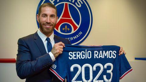 Sergio Ramos, durante su presentación con el PSG