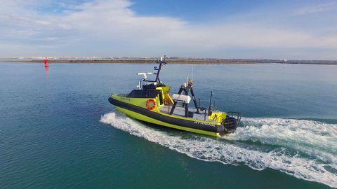 El dron marino Vendaval, diseñado por Navantia, que opera ya en el puerto de Ceuta.