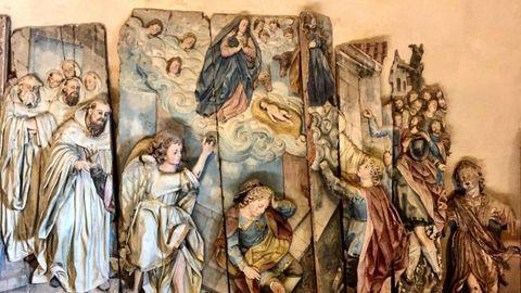 Restos del antiguo retablo de Santa María de Monfero