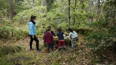 Los niños juegan y aprenden en lugares como este claro en un bosque en Castro de Beiro.