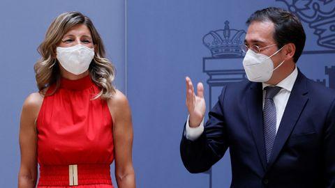 La nueva vicepresidenta segunda del Gobierno, Yolanda Díaz, en el acto de toma de posesión del nuevo ministro de Asuntos Exteriores, Unión Europea y Cooperación, José Manuel Albares.