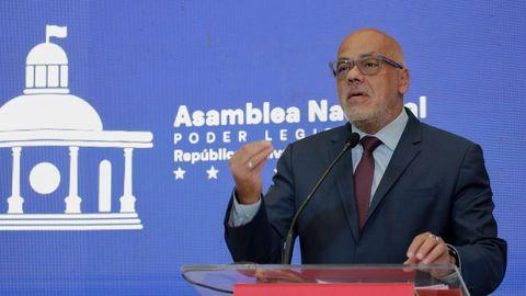 El presidente del Parlamento venezolano elegido en el 2020, Jorge Rodríguez, durante su comparecencia del martes