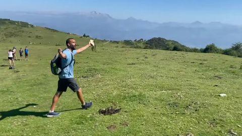 Jesús Candel, Spiriman, en Asturias subiendo al Pico Pienzu