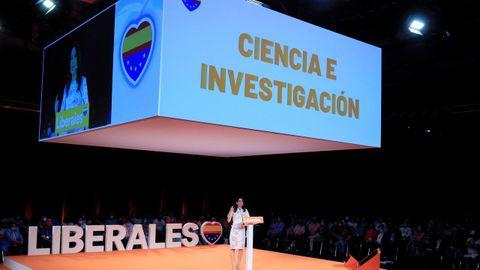 La presidenta de Ciudadanos, Inés Arrimadas, durante su intervención este domingo en Madrid en la clausura de la primera convención política de su formación.