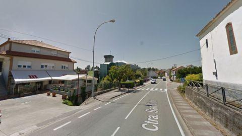 Tramo de la AC-162, en Bergondo, en el que tuvo lugar el accidente de moto