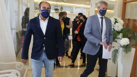 Cesáreo Pardal, presidente del Clúster Turismo de Galicia, y Alfonso Rueda, vicepresidente de la Xunta