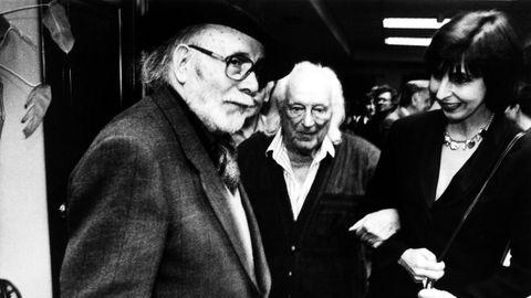 Laxeiro en Vigo con el poeta Rafael Alberti, en 1993
