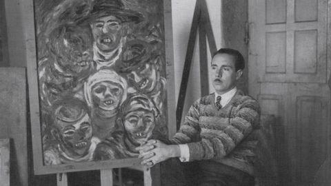 Laxeiro en 1931 en su estudio delante de Carnavalada