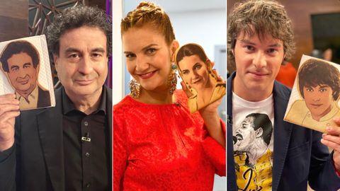 Pepe Rodríguez, Samantha Vallejo-Nágera y Jordi Cruz, los tres componentes del jurado del concurso televisado de cocina «MasterChef», posan con sus galletas de Late y Late
