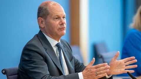 El ministro de Finanzas alemán, Olaf Scholz, durante la rueda de prensa de esta mañana