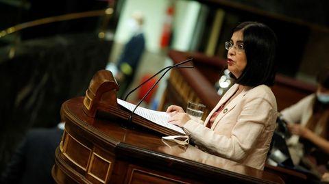 La ministra Carolina Darias, en su intervención de esta mañana en el Congreso de los Diputados