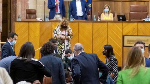 Varios diputados buscando una rata que ha irrumpido en el salón de plenos del Parlamento andaluz durante el inicio del pleno