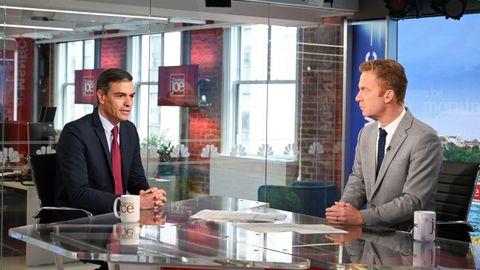 El presidente del Gobierno, Pedro Sánchez, en una entrevista en el programa Morning Joe, del canal MSNBC, este miércoles durante su visita a Nueva York