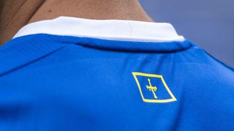 Bandera del Principado de Asturias en la zona del cuello