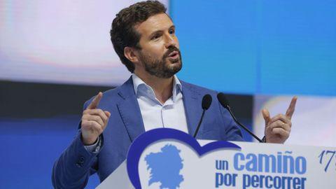 Pablo Casado, el pasado 17 de julio en el congreso del PP de Galicia
