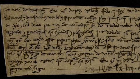 Pergamiño en galego: a venda dunha propiedade en 1230 é un dos escritos en galego máis antigos que se conservan. Está no Arquivo do Reino, na Coruña. Hainos máis vetustos. Na Casa de Alba teñen un pergamiño orixinal de 1228, o Foro do Burgo de Castro Caldelas. Un texto notarial do mosteiro de Melón, de 1231, é outra destas reliquias