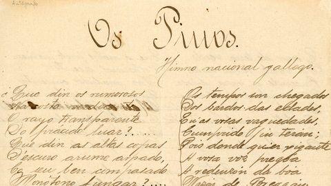 Himno galego: «Os Pinos» presentouse no 1890 para o certame musical do Orfeón Número 4 da Coruña. Escrito por Eduardo Pondal e con partitura de Pascual Veiga, e a orixe do himno galego