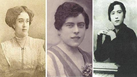 As irmandiñas: no 1908 nace a Sección Feminina das Irmandades na Coruña, que chegou a ter ata 200 asociadas. Entre elas, e por esta orde nas fotos, Micaela Chao Maciñeira (a única muller que participou no acto fundacional das Irmandades da Fala no 1916), a mestra Elvira Bao e María Miramontes