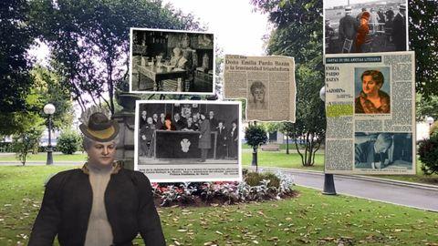 La escritora habla de su trayectoria literaria junto al monumento en su honor