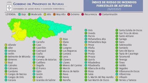 Mapa de riesgo de incendios en Asturias