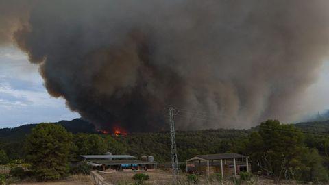 La columna de humo del incendio, vista desde el municipio de Sant Martí de Tous