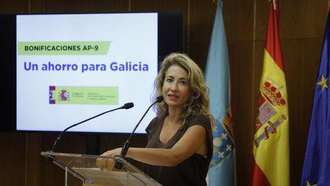 La ministra Raquel Sánchez, este lunes durante la presentación de las rebajas de la AP-9.