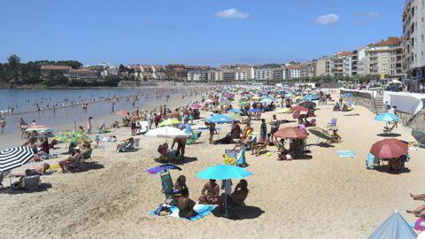 La playa de Silgar, en Sanxenxo, en una imagen de este lunes