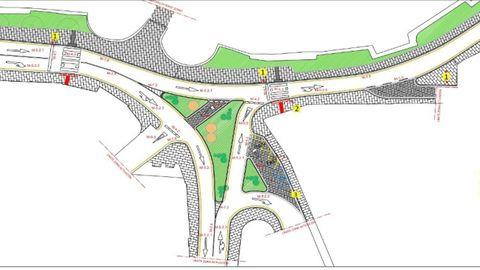 El proyecto para la Rúa Santiago, con una isleta central