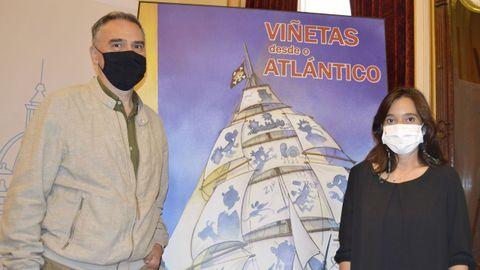 Miguelanxo Prado, director del festival, y la alcaldesa Inés Rey en la presentación del evento.