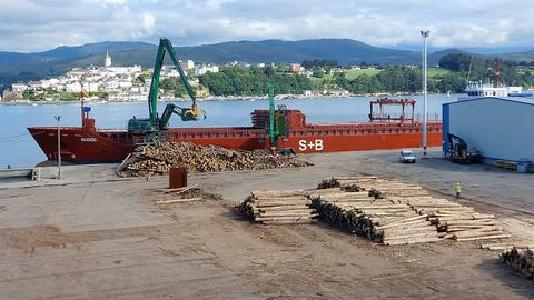 Carga de eucalipto con destino Islandia en el puerto comercial de Ribadeo