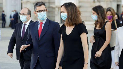 Los ministros Félix Bolaños, del PSOE, e Ione Belarra, de Unidas Podemos